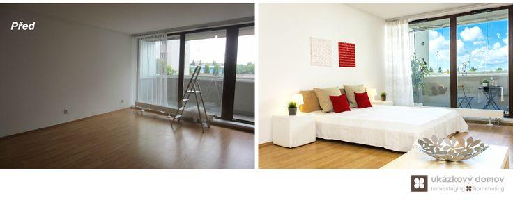 Home Staging nezařízeného bytu 1+1 v Praze Holešovicích. Více info k tomuto projektu na http://ukazkovydomov.cz/2016/09/15/home-staging-nezarizene-garsonky-49-m²-v-praze-holesovicich/ #home #staging #homestaging #praha #prague #holesovice #vacant #nezarizeny #byt #apartment #garsonka #enclosed #bila #white #cervena #red #pred #po #before #after #lodzie #patio #cz #czech #loznice #bedroom