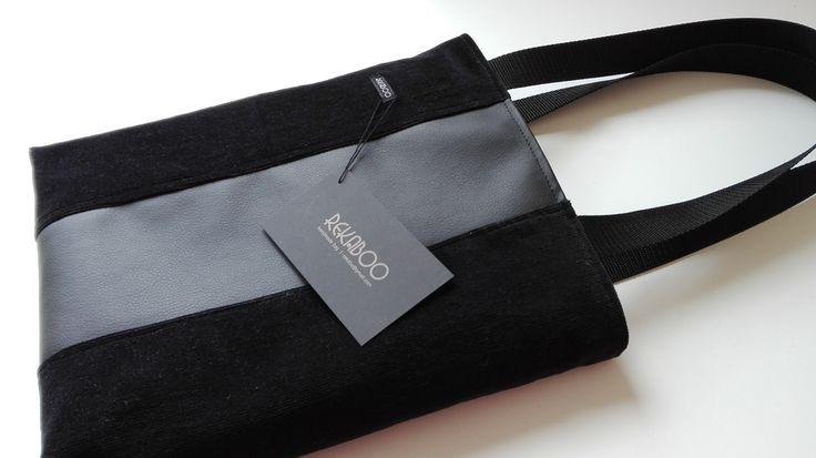 New life of black corduroy trousers. Handmade bag by Rekaboo.