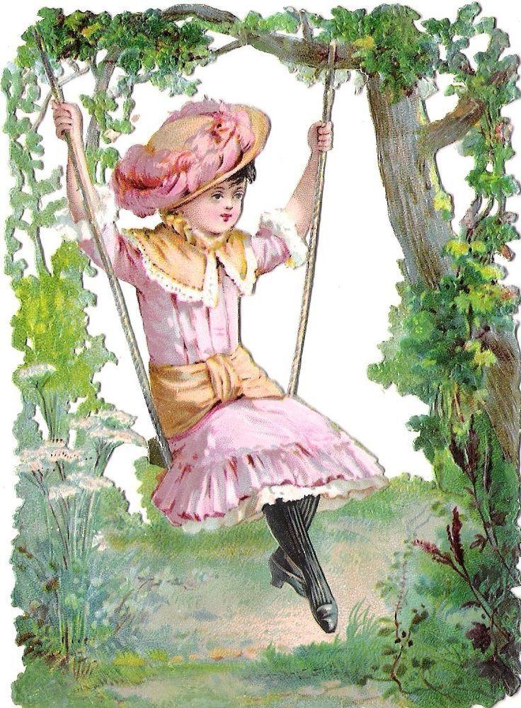 Oblaten Glanzbild scrap die cut chromo  Kind child 13,4cm Schaukel swinging girl: