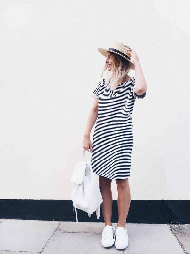 COS striped dress (similar here & here) JANESSA LEONE klint straw hat MANSUR GAVRIEL white tumble leather backpack (similar here  & here) A.P.C. leather low-tops