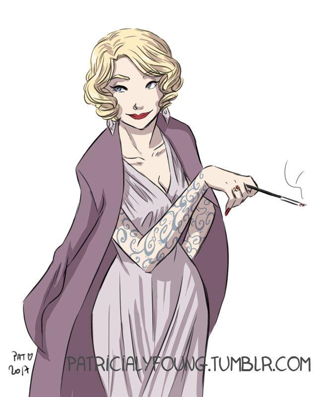 """patricialyfoung: """"Un portrait de ma version de Bérénilde, dans La Passe-miroir. Je ne sais pas pourquoi, je me l'imaginais comme Marlène Dietrich… Je pense que c'est à cause de sa théâtralité et son porte-cigarette ! J'ai beaucoup aimé les deux..."""