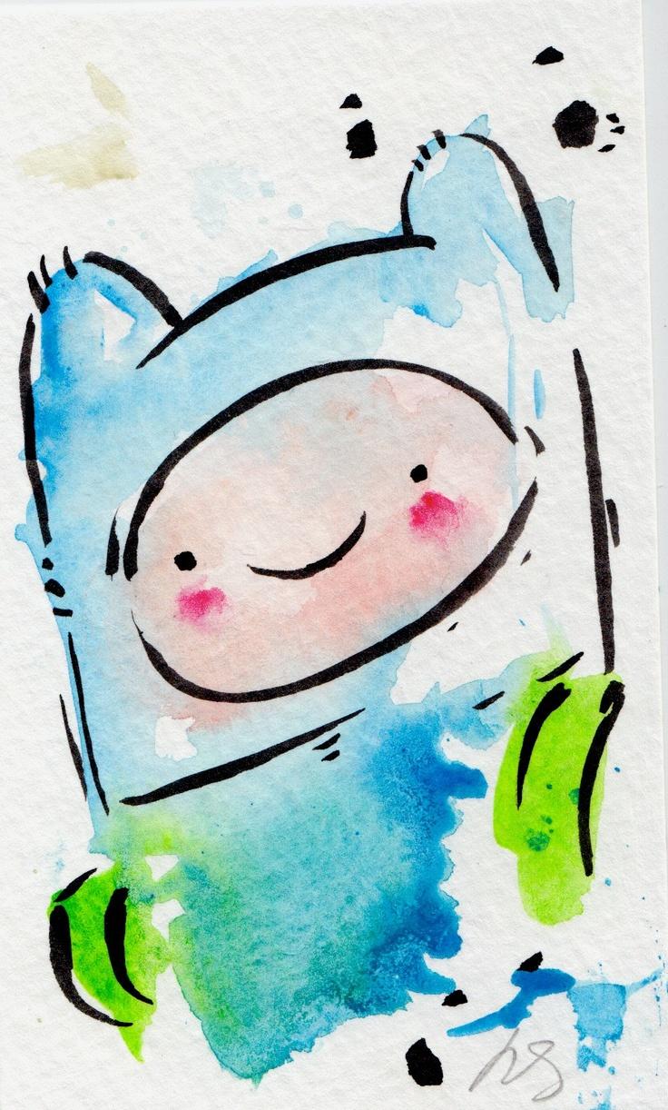 ORIGINAL PAINTING Finn / Adventure Time Fan Art. via Etsy.