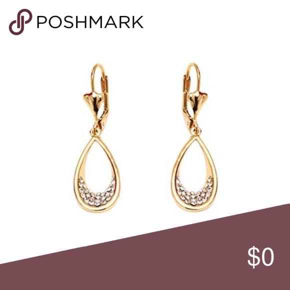 "Open Teardrop Earrings w/ Swarovski Crystals 🔸Coming Soon! Sparkling crystals adorn these drop earrings framed in radiant gold-plated brass  🔸0.5"" W x 1.6"" L 🔸 18 karat gold-plated brass 🔸 Swarovski crystals Jewelry Earrings"