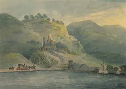 Лист из альбома семьи Бакуниных. Неизвестный художник. Пейзаж с рекой и замком. 1800-е годы. Бумага, акварель