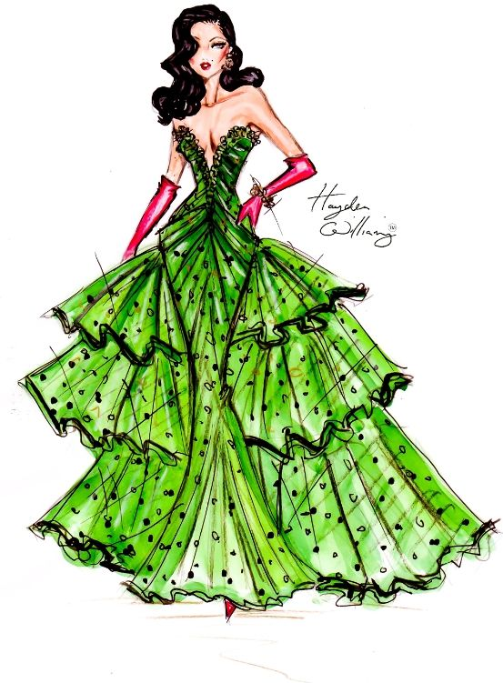 "Wishing everyone a Merry Christmas with some Festive Couture! A stunning sequin & crystal covered silk & tulle gown in a festive shade of green worn with contrasting red satin gloves & some priceless jewellery"" — Hayden Williams"