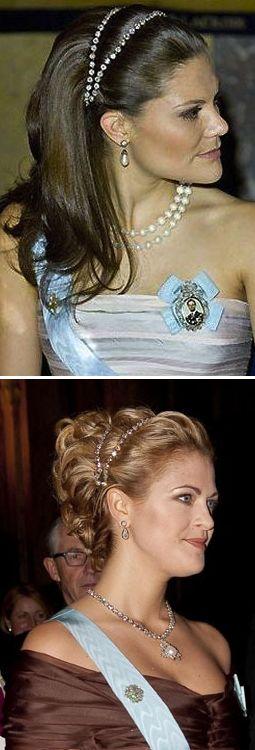 Royal Sisters... Diamond reviere necklace tiara Photo 1; Crown Princess Victoria Photo 2; Princess Madeleine