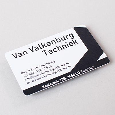 Unieke visitekaartjes | drukwerketalage. Een kunststof visitekaartje. Gedrukt op PVC.