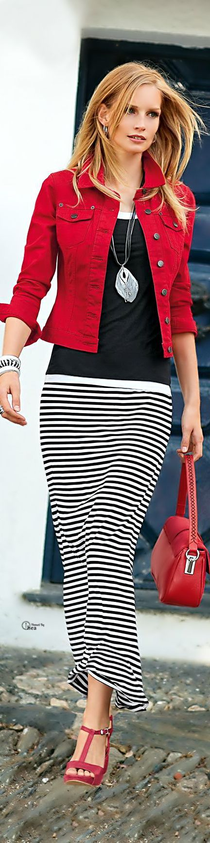 Super cute outfit. Red jacket, black top, black & white striped skirt, red bag & shoes