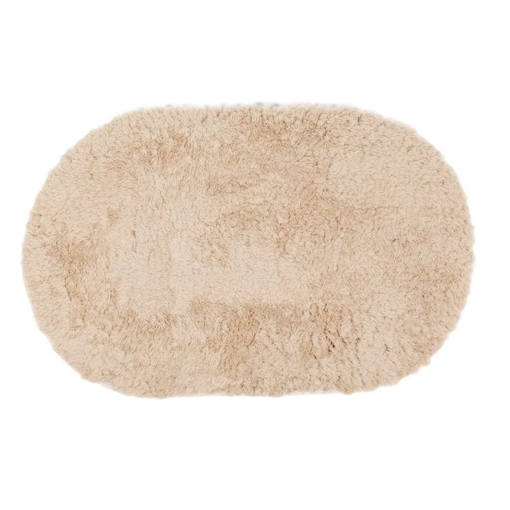 Room Plush Oval Anti-slip Floor Rug Carpet Mat Doormat Beige 80cm x 50cm