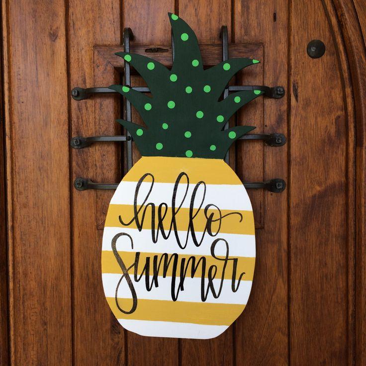 Pineapple door hanger, summer hand painted door hanger, wooden door hanger, welcome sign by RedLetterDayShop on Etsy