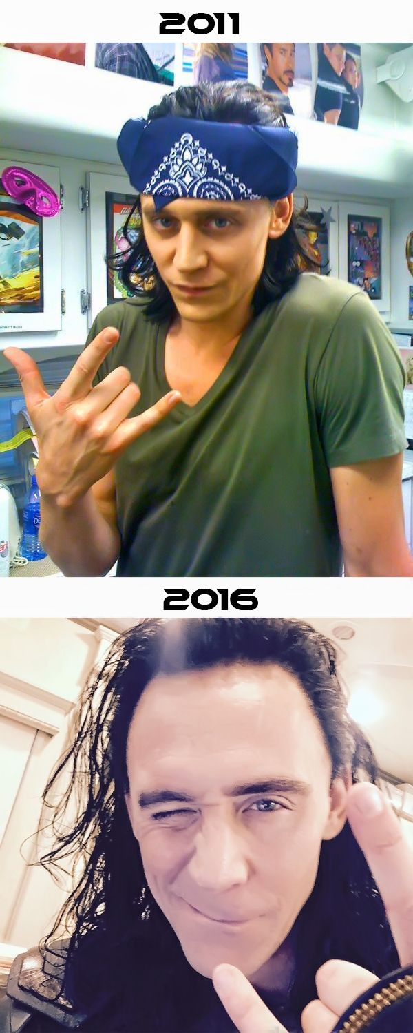 Loki making 'rock on' hand gesture. Photos: https://twitter.com/twhiddleston/status/214029879560249344 / https://www.instagram.com/p/BI464OMhT3E/