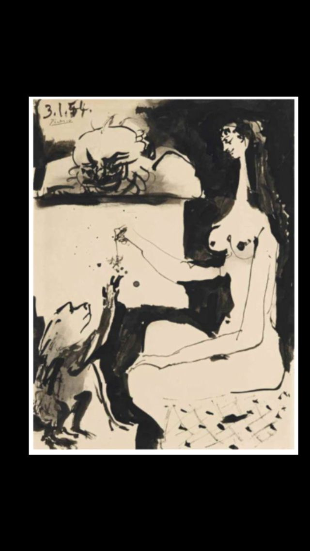 "Pablo Picasso -"" Femme et singe  "", Vallauris 3 I 1954 - Brush and ink on paper - 32 x 24 cm (..)"