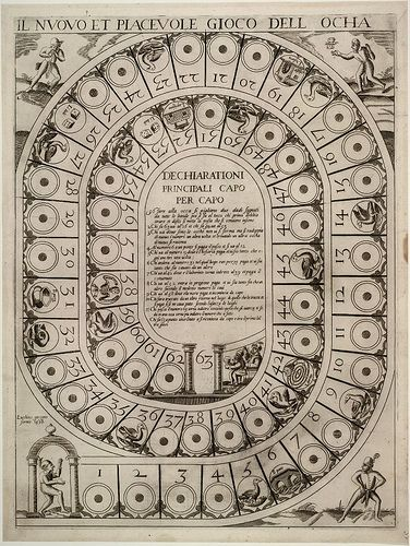Il nuovo et piacevole gioco dell ocha  (The new and enjoyable game of the goose)    Engraving published by Lucchino Gargano in 1598 with the game rules in the centre and pictures of fools in each corner.