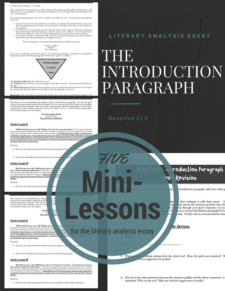 This series of mini-lessons can also be found in our Mega Literary Analysis Essay Bundle, sold separately. The introduction paragraph is arguably one of the most important paragraphs in any essay. It makes the first impression. These mini-lessons are part of the Bespoke ELA Literary Analysis Mega Bundle, sold separately. This lesson is excellent for high school English Language Arts. By Bespoke ELA