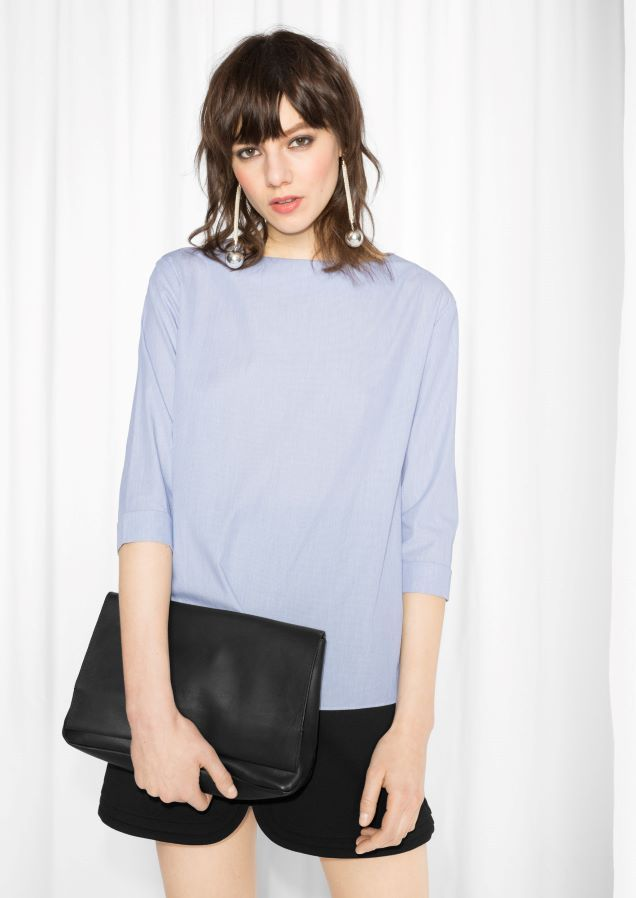 & Other Stories Fold Sleeve Cotton Blouse in Blue