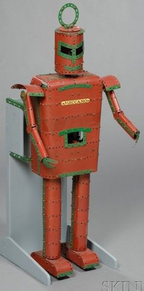 IMAGE: A Meccano mechanical robot store display with moving arms and legs