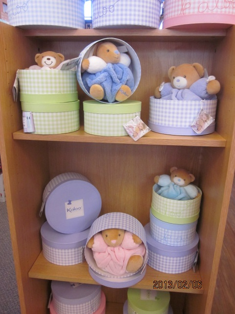 Patchwork Stuffed Bunnies, Bears and Rabbits. They come in a great keepsake box.