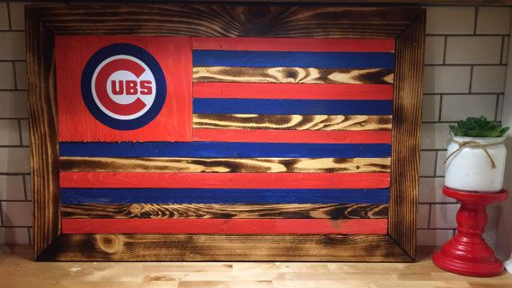 Customizable chicago cubs flag  wooden  ready to by AllThingsFor