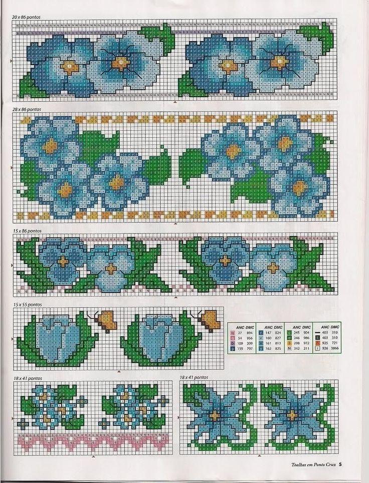Cross stitch chart flowers