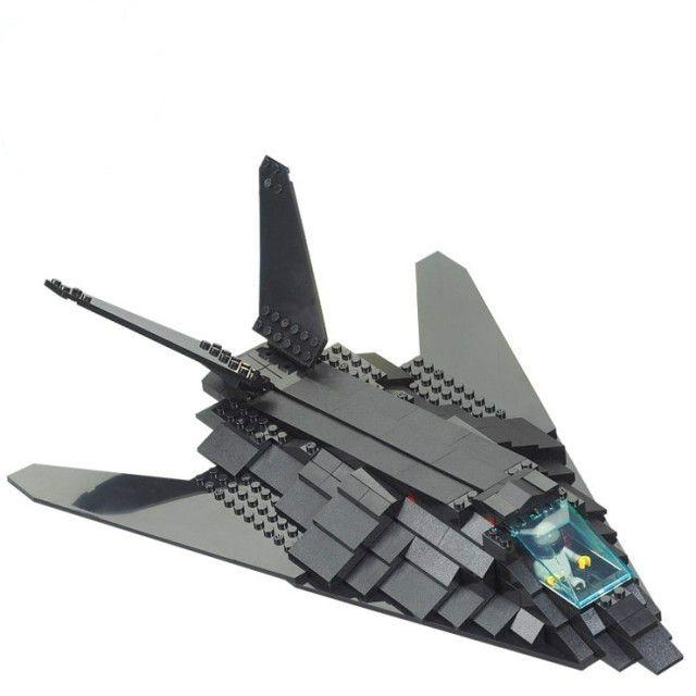 Sluban B0108 Military Black F117 Invisible Bomber Plane 3D Construction Plastic Model Building Block Bricks Compatible With Lego