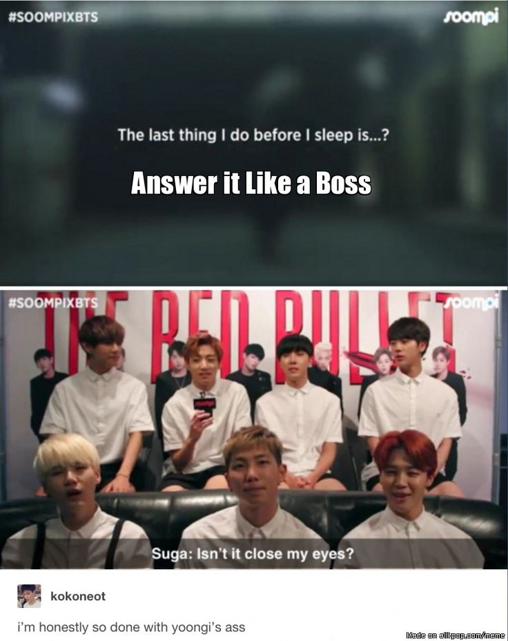 Learn to answer like Min Suga   allkpop Meme Center. Jimin's face when he says that, though.   He's just like, yeah.