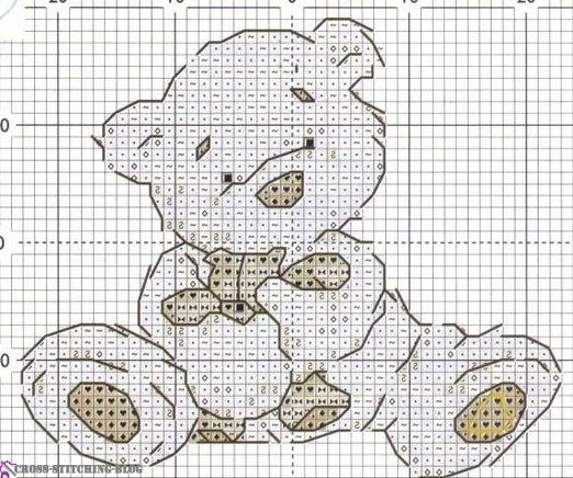 Cross-stitch Lickle Ted, part 2...  color chart on part 1...    found on : http://cross-stitching-blog.com/archives/6204