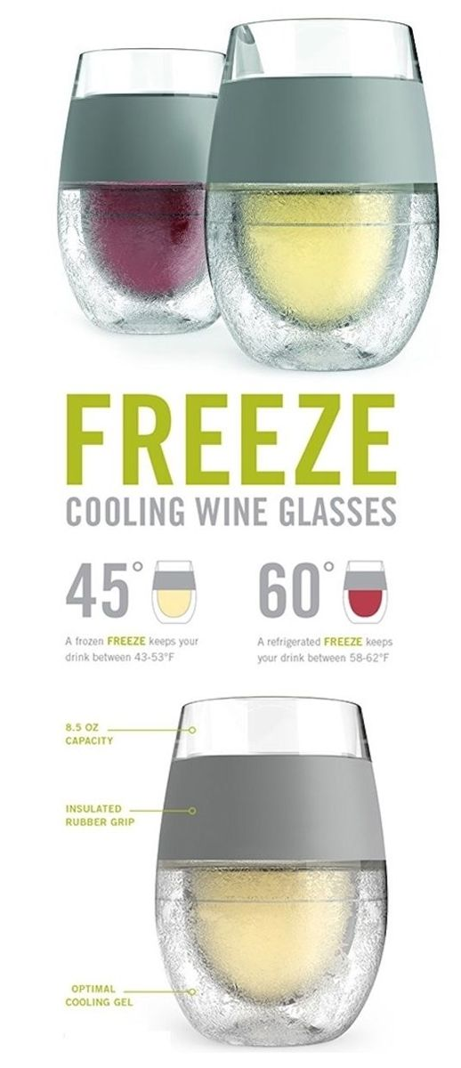Freeze Cooling Wine Glasses rock! Say goodbye to lukewarm drinks with the HOST FREEZE! Just pop in the freezer, pour and enjoy perfectly chilled wine. No need to preplan by chilling your wine or drink beforehand. The FREEZE is ready when you are.