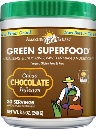 Amazing Grass Green SuperFood® Drink Powder Cacao Chocolate Infusion -- 8.5 oz - Vitacost
