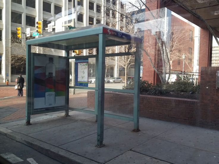 A bus shelter on the northwest corner of 4th Street and Market Street in downtown Philadelphia. This stop services SEPTA's southbound Route 57 bus, which runs from the Frankford Transportation Center in the Frankford neighborhood of North Philadelphia to the Whitman Plaza shopping center in South Philadelphia. As 4th Street only runs southbound, the northbound Route 57 bus collects passengers along 3rd Street in downtown Philadelphia.
