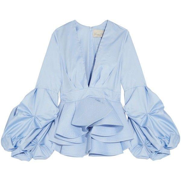 JOHANNA ORTIZ   St. Barts cotton-poplin peplum top (2.905 RON) ❤ liked on Polyvore featuring tops, sky blue top, peplum top, blue top and blue peplum top