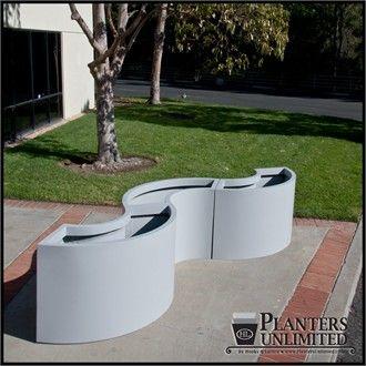 Modular Planters - fiberglass planters in curved sections for a wavy shape - http://www.hooksandlattice.com/modular-planters.html