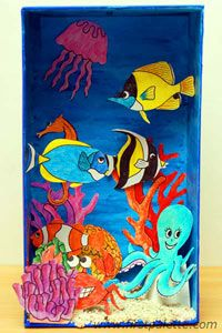 Coral Reef Diorama craft:  •Shoebox or similar-sized box  •Printable card stock or construction paper  •Crayons or colored pencils  •Acrylic paint  •White glue  •Scissors  •Paint brush  •Pencil  •Sand  •Sea shells (optional)  •Paper bowl or egg carton (optional)  http://www.firstpalette.com/Craft_themes/Animals/coralreefdiorama/coralreefdiorama.html#
