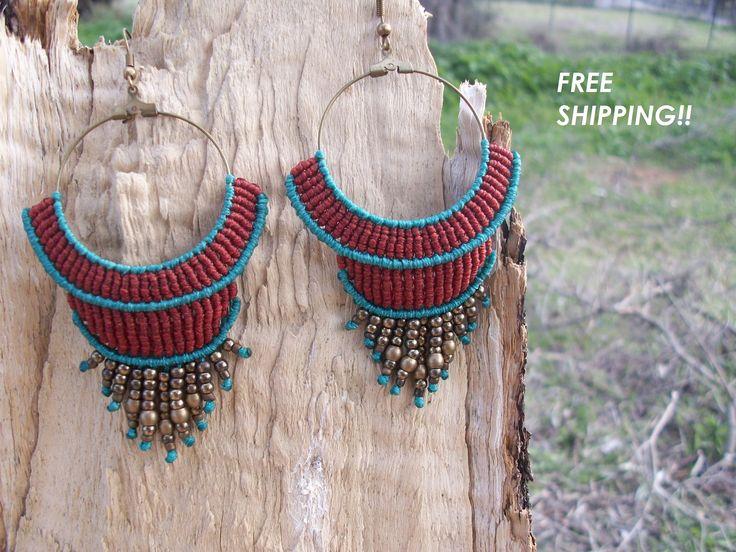 FREE SHIPPING Boho macrame earrings - Limited edition, hippie earrings, gipsy style, hoop earrings, summer collection!!