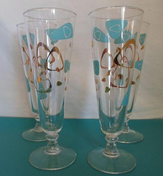 vintage retro mid century modern set of four Atomic Era Boomerang Pilsner glasses