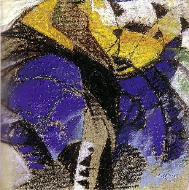 Study by Kupka, vers 1912, pastel, .229 x .235 m. Saltzman family, NY.