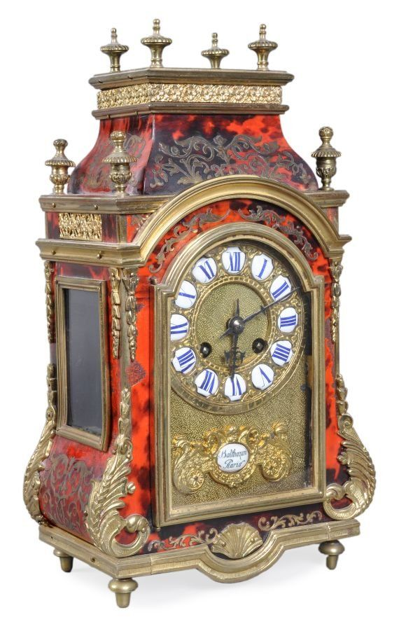 A French Louis XIV style boulle mantel clock, bear