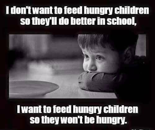 "Democrat vs Republican. Republicans want to cut funding for food for hungry children. How cruel and heartless can a person be? The Republican obsession with the Ayn Rand ""greed is good"" philosophy has gone too far."
