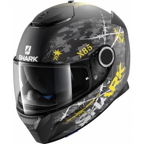 Casco Shark SPARTAN Rughed Negro/Antracita/Amarillo HE5042EKAY. Donde comprar casco moto fibra vidrio Shark SPARTAN Rughed Black/Anthracite/Yellow con doble alerón