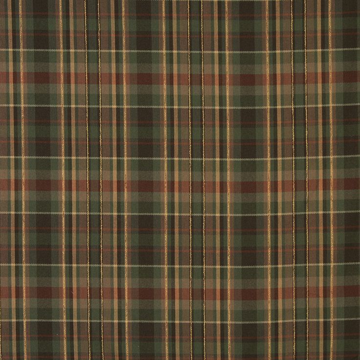 Brown Forest Green And C Country Plaid Linen Upholstery Fabric