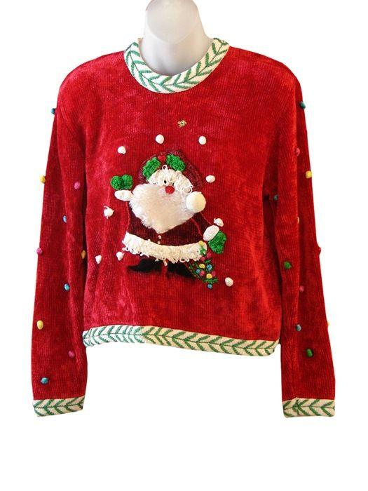 Velvety Fuzzy-Beard Santa | Ugly Christmas Sweaters For Sale