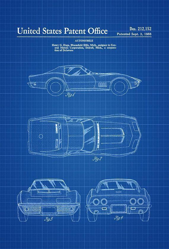 1968 Corvette Patent – Patent Print, Wall Decor, Automobile Decor, Vintage Automobile Art, Classic Car, Vintage Corvette, 68 Vette