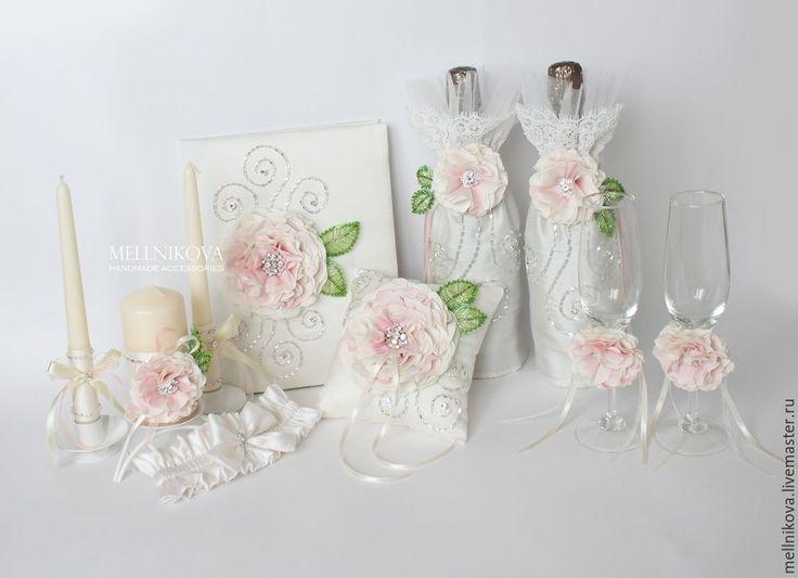 """Купить Набо свадебных аксессуаров """"Афродита"""" - бледно-розовый, свадебные аксессуары, аксессуары для свадьбы"""