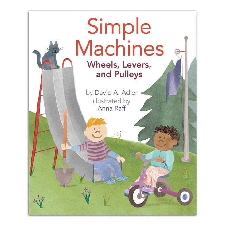 Simple Machines Kids use simple machines every day without realizing it. Teeth are wedges and so are knives, forks, and thumb tacks. Many toys such as slides, which are inclined planes, and seesaws, which are levers, are also simple machines. Two appealing kids and their comical cat introduce levers, wheels, pulleys, inclined planes, and more, and explain how they work. This lively introduction to physics will get kids excited about how simple machines simplify our lives. 32 pages.