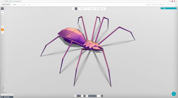 a 3D model of spider created with VECTARY - the free online 3D modeling tool #3Dprinting