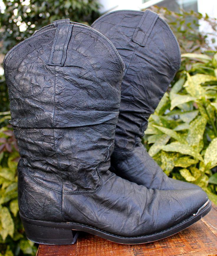 Dingo Charcoal Black Amsterdam Nappa Slouch Boots Dan Post Men Shoe 9  #Dingo #WesternRockeArtist