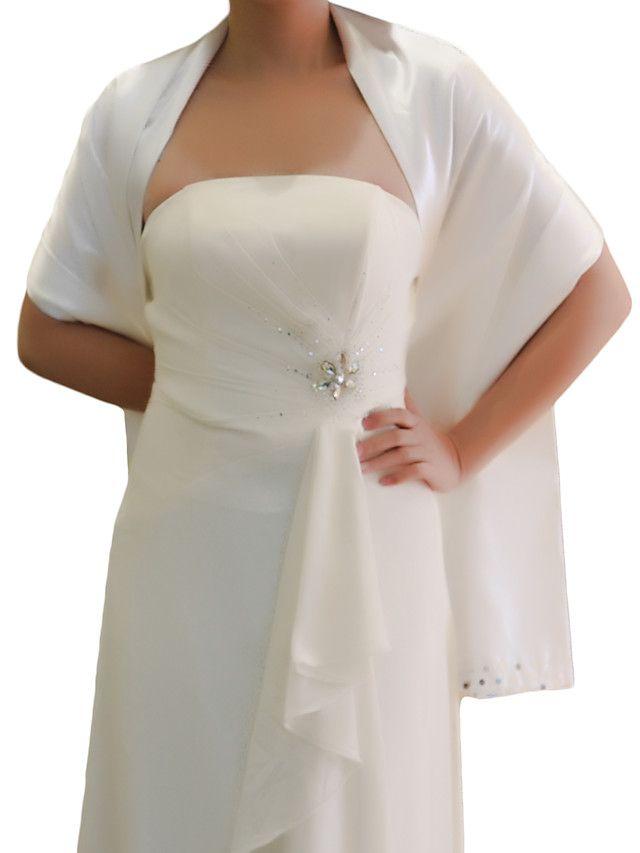mooie stretch satijn avond / bruiloft omslagdoek met pailletten en kralen (meer kleuren) - EUR €29.39
