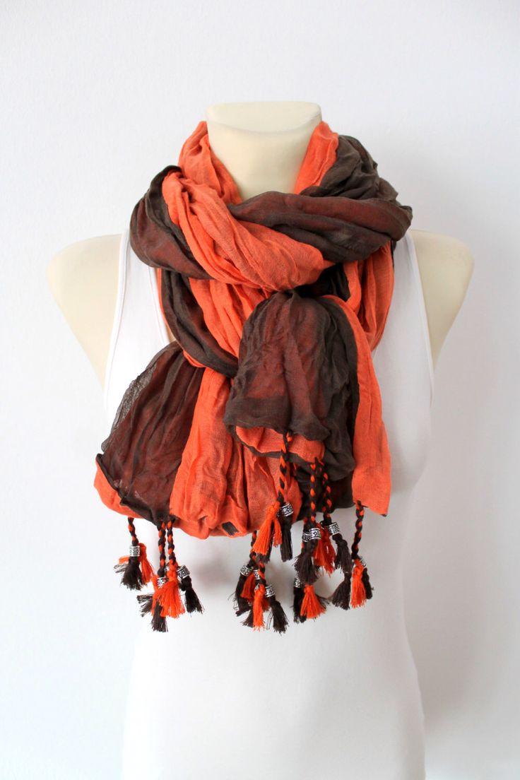 Black & Orange Autumn Scarf - Plain Fashion Shawl - Unique Fabric Scarf -Original Boho Neckwarmer - Fringe Scarf - Accessories For Her door LocoTrends op Etsy https://www.etsy.com/nl/listing/209365008/black-orange-autumn-scarf-plain-fashion