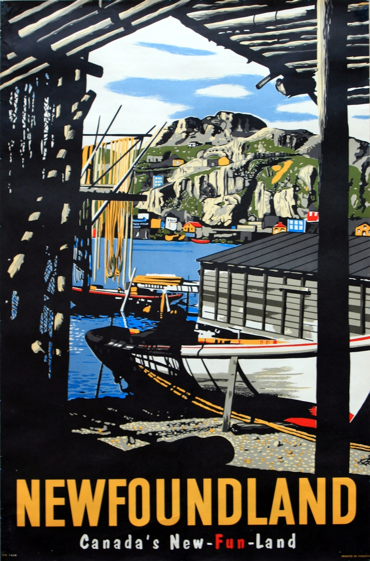 Canada - Newfoundland, Canada's New-fun-land, 1950s - original vintage poster listed on AntikBar.co.uk