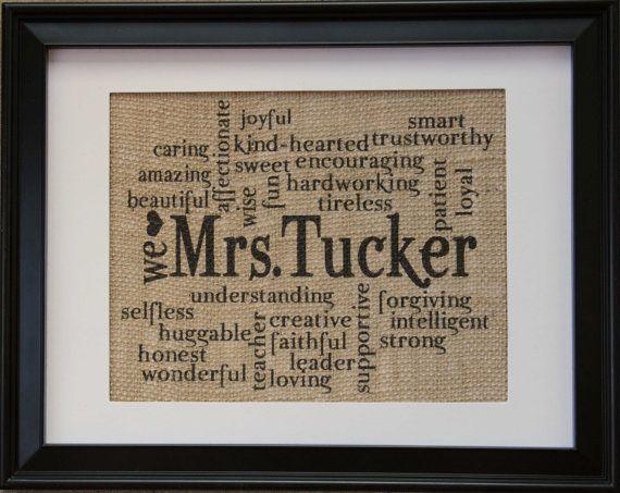 Teacher Gift , Teachers Name on Burlap , Burlap Print with Teachers Name and Words to Describe Teacher , End of School year Gift