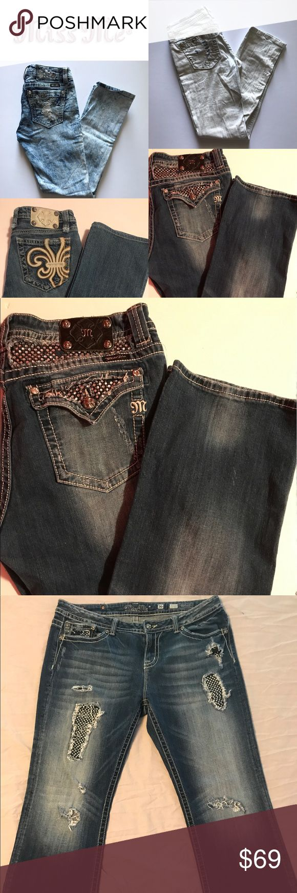 Miss Me Jeans Miss Me Destroyed Jeans Bootcut with Rhinestone Encrusted Patches and Back Pockets 36 x 31 or size 20.  Please Note there are multiple destroyed areas that are part of the design. Miss Me Jeans